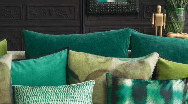 Elitis kussens in groene tinten   Kussens  accessoires