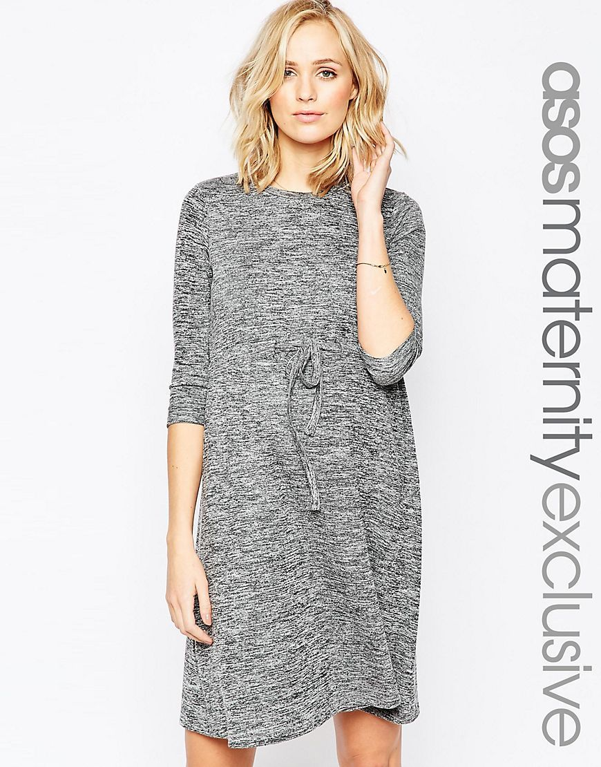 ASOS+Maternity+LOUNGE+Dress+With+Drawstring+Waist+In+Marl