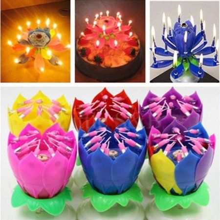 Exploding Birthday Candle Mix Color Lotus Rotating Play Music Happy To You Decorative Candles For Cake Amazing Romantic Musical Pink Blue