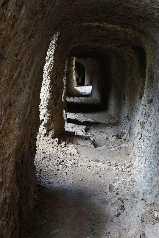 Tunnel. Villa Gregoriana, Tivoli, Italy.