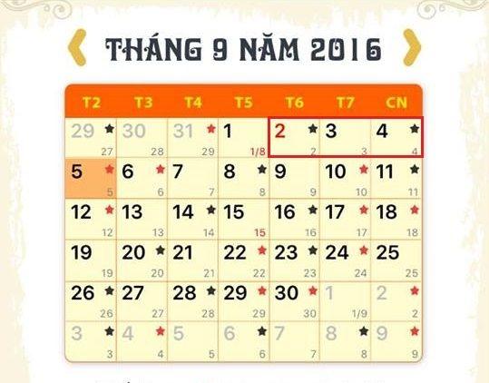 Lịch nghỉ lễ Quốc Khánh 2/9/2016