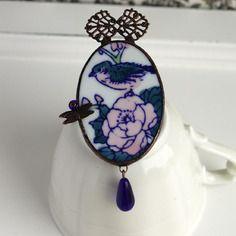 Broche en porcelaine de chine - motif oiseau