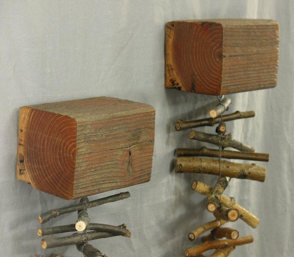 Modern rustic shelves; rustic tree branch wall decor ...