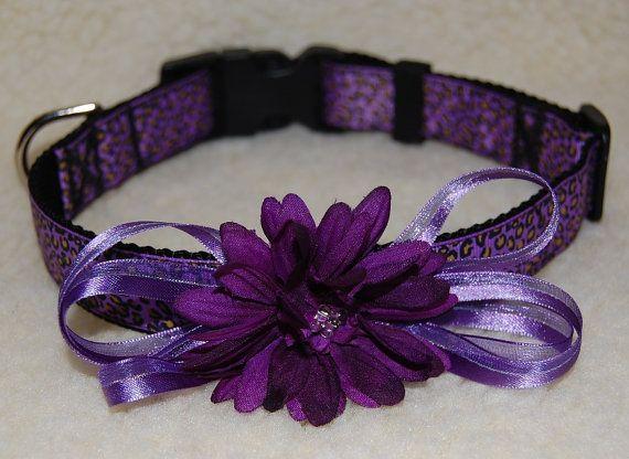 Dog Collar & Leash Set Designer Purple Leopard by JustImagine1, $26.00
