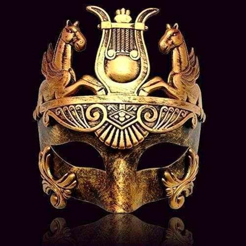 Black Masculine Greek /& Roman Soldier Men Venetian Metallic Mask for Masquerade
