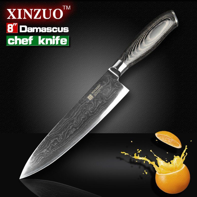 "8"" inches chef knife Japanese VG10 Damascus steel – Chiles Kitchen"
