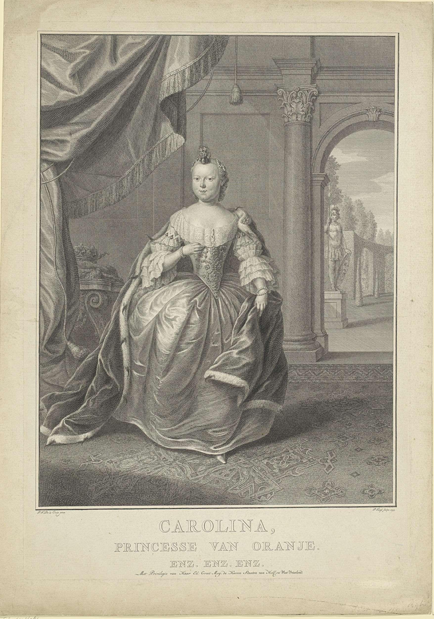 Pieter Tanjé | Portret van Carolina, prinses van Oranje-Nassau, Pieter Tanjé, Staten van Holland en West-Friesland, 1755 | Portret van Carolina. Ze staat in een vertrek met rechts een doorkijkje naar een tuin. In de ondermarge haar naam en titels.