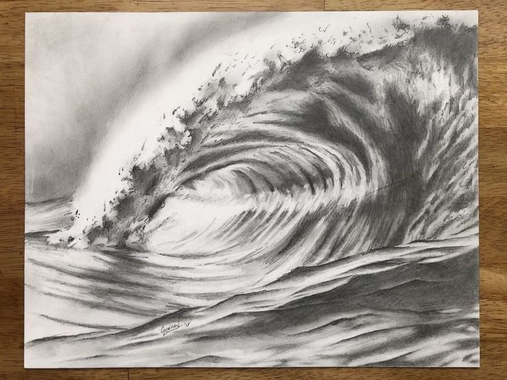 Original Ocean Wave Pencil Drawing   Ocean wave drawing ...