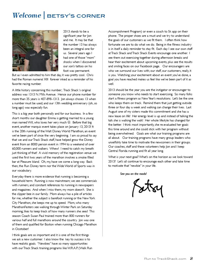 Have you read the latest Betsy's Corner?! Read up and get latest for 2013 like our training program, W.R.A.P.