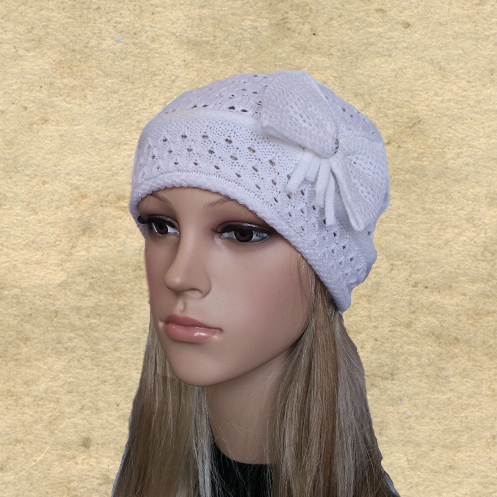 White knit hat, Fall autumn hats, Knitted ladies hats, Slightly ...