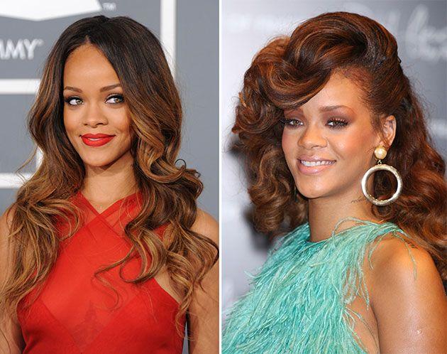 Rihannas Hair Transformations That Get Us Hooked Auburn Brown