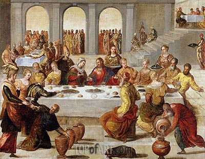 The Wedding Feast At Cana Tintoretto Painting Reproduction Painting Catholic Art Classic Paintings