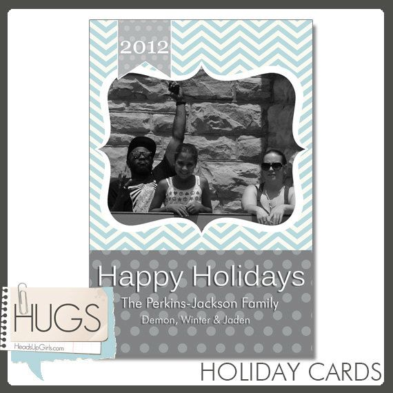 Personalized Photo Christmas Cards or Party Invitations in Blue Chevron Stripes and Grey Polka Dots by HeadsUpGirls, $2.00