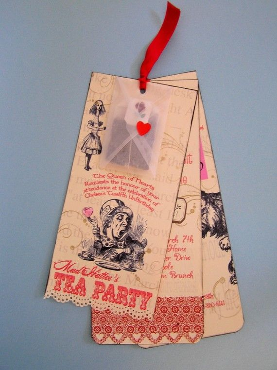 Alice in Wonderland Party Invitations   :The Wording is perfect!  -Bookmark style invites and/or party favors (if wording is changed)