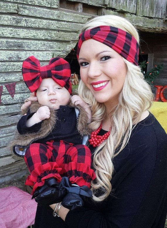 RED/BLACK PLAID Mommy & Me matching Turban by LollipopGirlBowtique