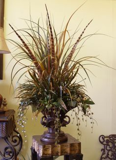 Attirant Grasses  Pheasant Feathers Floral Design NC120 10 : Floral Home Decor, Silk  Arrangements