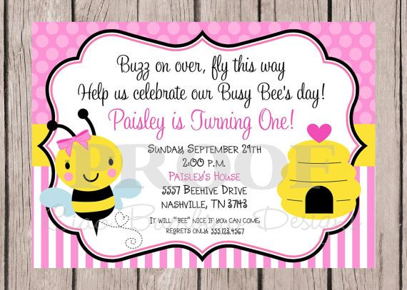 Printable pink bumble bee birthday party invitation print yor own printable pink bumble bee birthday party invitation print yor own beeday invitation with pink bumble bee any age you print 0032 filmwisefo Images