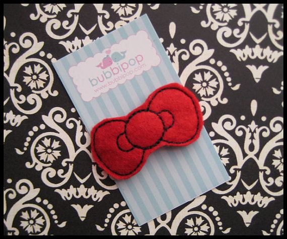 Boutique  Red No Slip Felt Hello Kitty Bow Snap Hair by bubbipop, $3.49