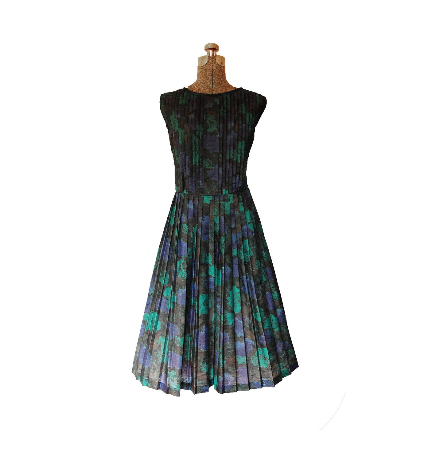 Vintage 1950s 50s Dress - Floral Cotton Printed Sleeveless Full ...