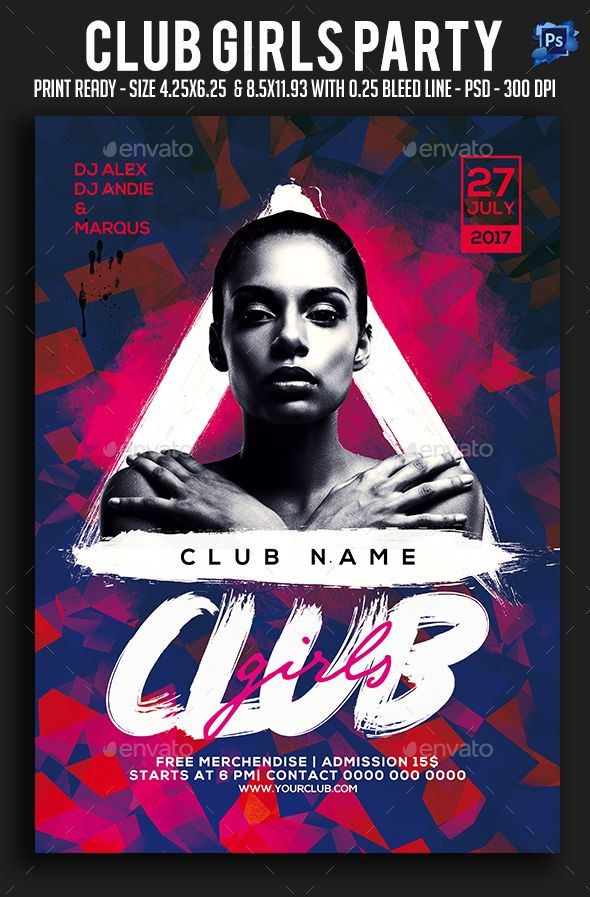Club Girls Party Flyer  Party Flyer Flyer Template And Template