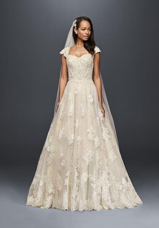 Oleg Cassini Vintage Cap Sleeve Wedding Dresses 2018 Modest Lace Applique Detail Plus Size Country Sweep Train Bridal Dress