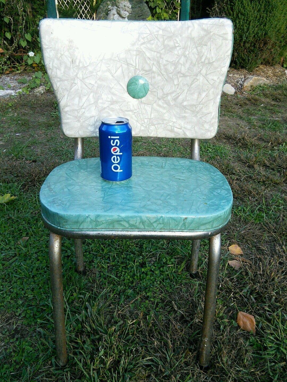 Vtg RARE CHILD\'S 1950\'s Mid-Cent cracked ice vinyl Blue chrome ...