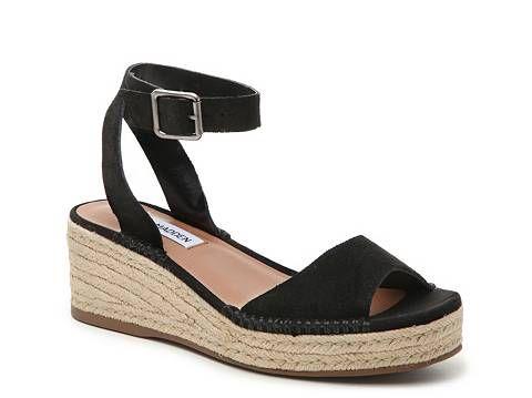 1c3a9ab20ef Steve Madden Elody Wedge Sandal   Zapatos de lujo   Black suede ...