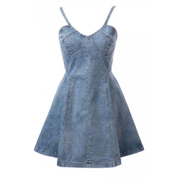 LUCLUC Blue Denim Strappy Skater Dress ($58) ❤ liked on Polyvore featuring dresses, denim skater dresses, denim dress, skater dress, blue denim dress and strappy dress