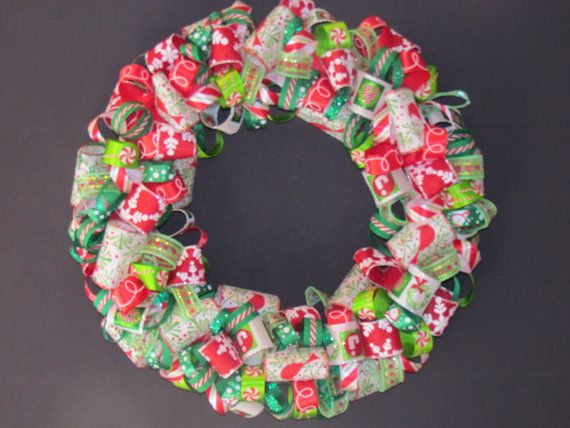 Christmas Ribbon Wreath by SandyTurtleCreations on Etsy CHRISTmas