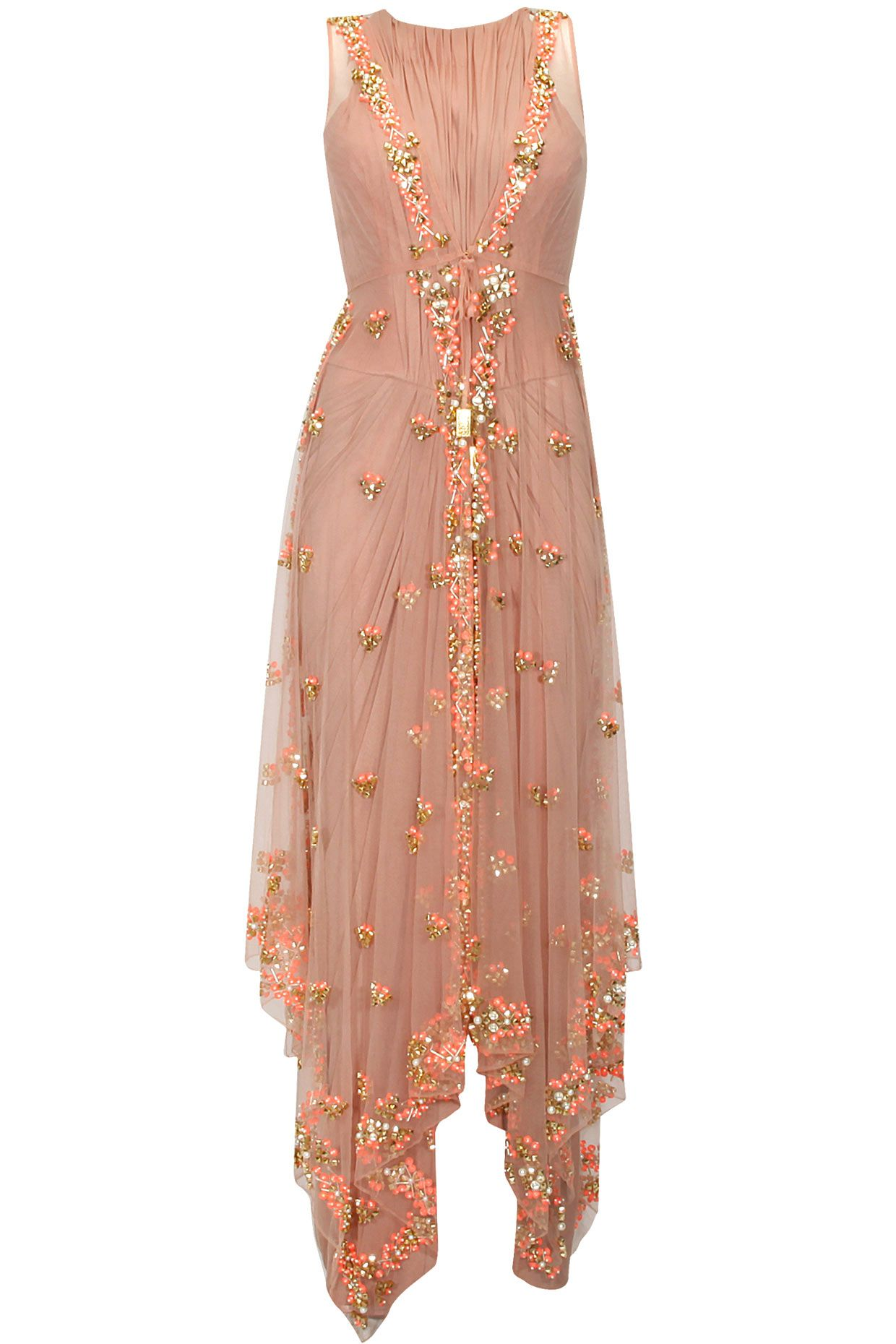 Rose beige pearl and mirror work umbrella cut dress available only