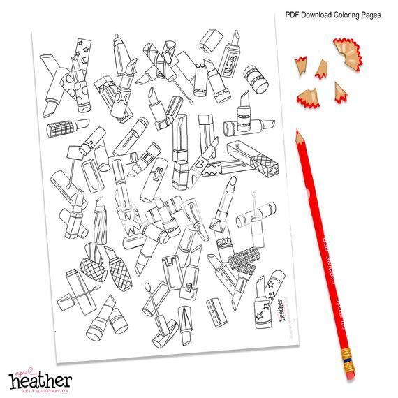 COLORING PAGE | PDF Printable | Lipstick Fashion Coloring ...