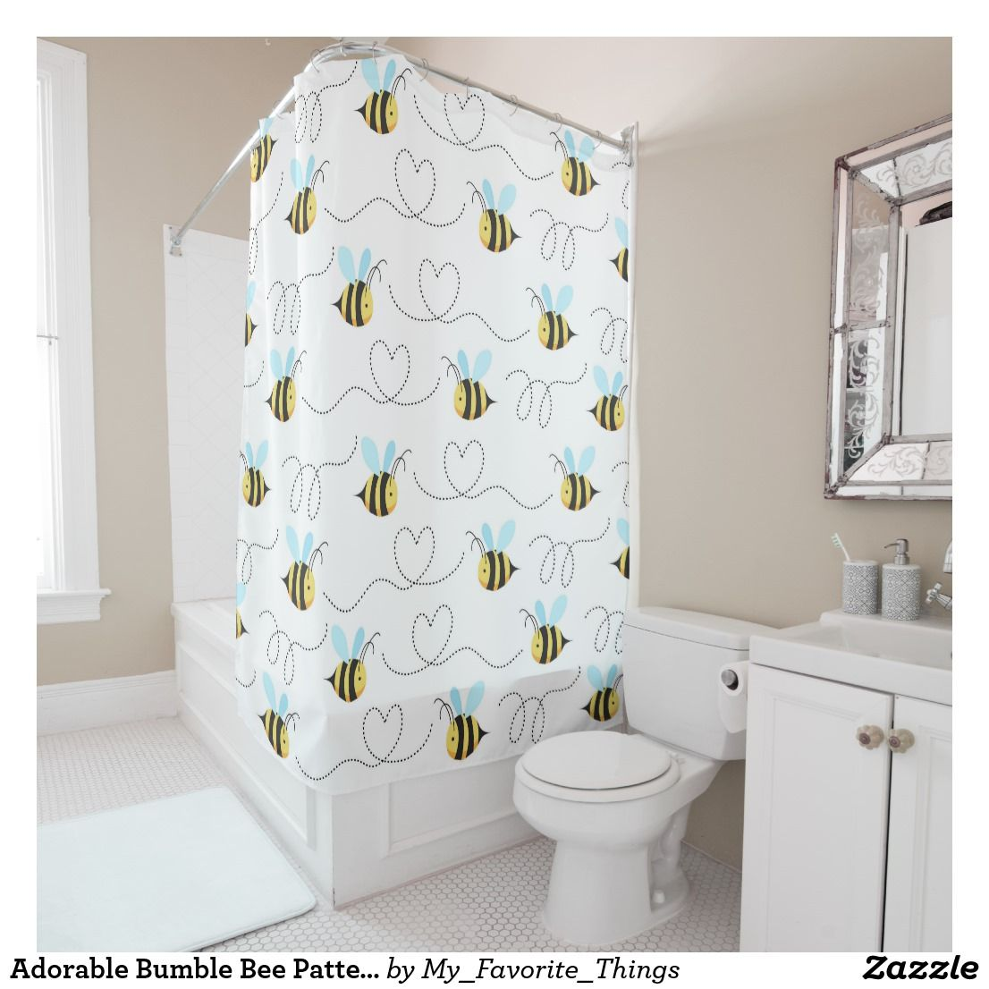 Adorable Bumble Bee Pattern Shower Curtain Zazzle Com