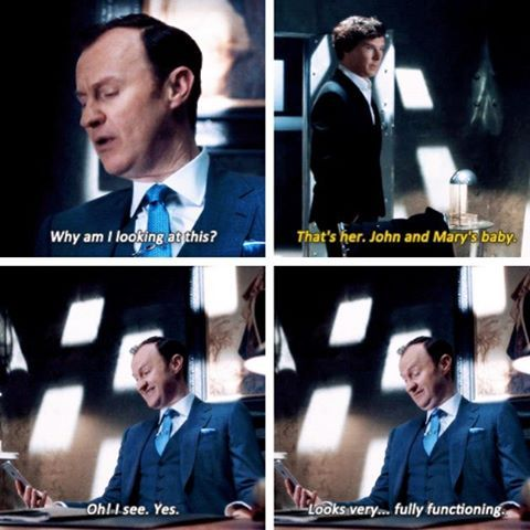 """Sherlock S04 E01 """"The Six Thatchers"""". Season 4. """"Is that the best you can do?"""" """"I've never been good with them."""" """"Babies?"""" """"Humans."""""""
