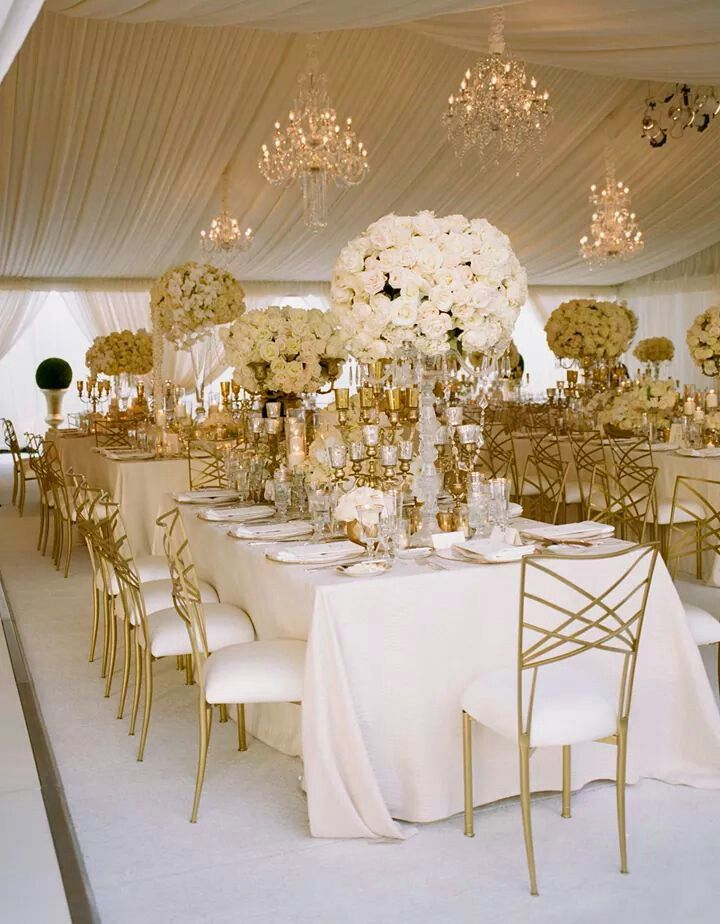 White and gold wedding reception | Gold wedding theme ...