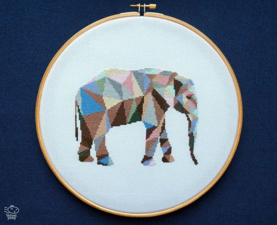 Mosaic Elephant PDF Cross Stitch Pattern Chart