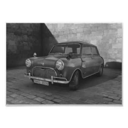 Vintage mini cooper black and white retro poster