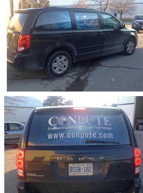 Grand Caravan completed for CONPUTE - digital print graphics on perforated vinyl. December 2015 www.SpeedproDurham.ca