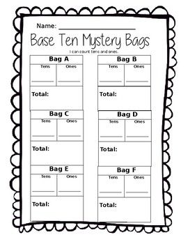 Base Ten Mystery Bags (Tens and Ones, Place Value