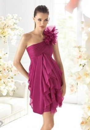 One-Shoulder A-Line Short Chiffon Cocktail Dress | prom 2013 ...