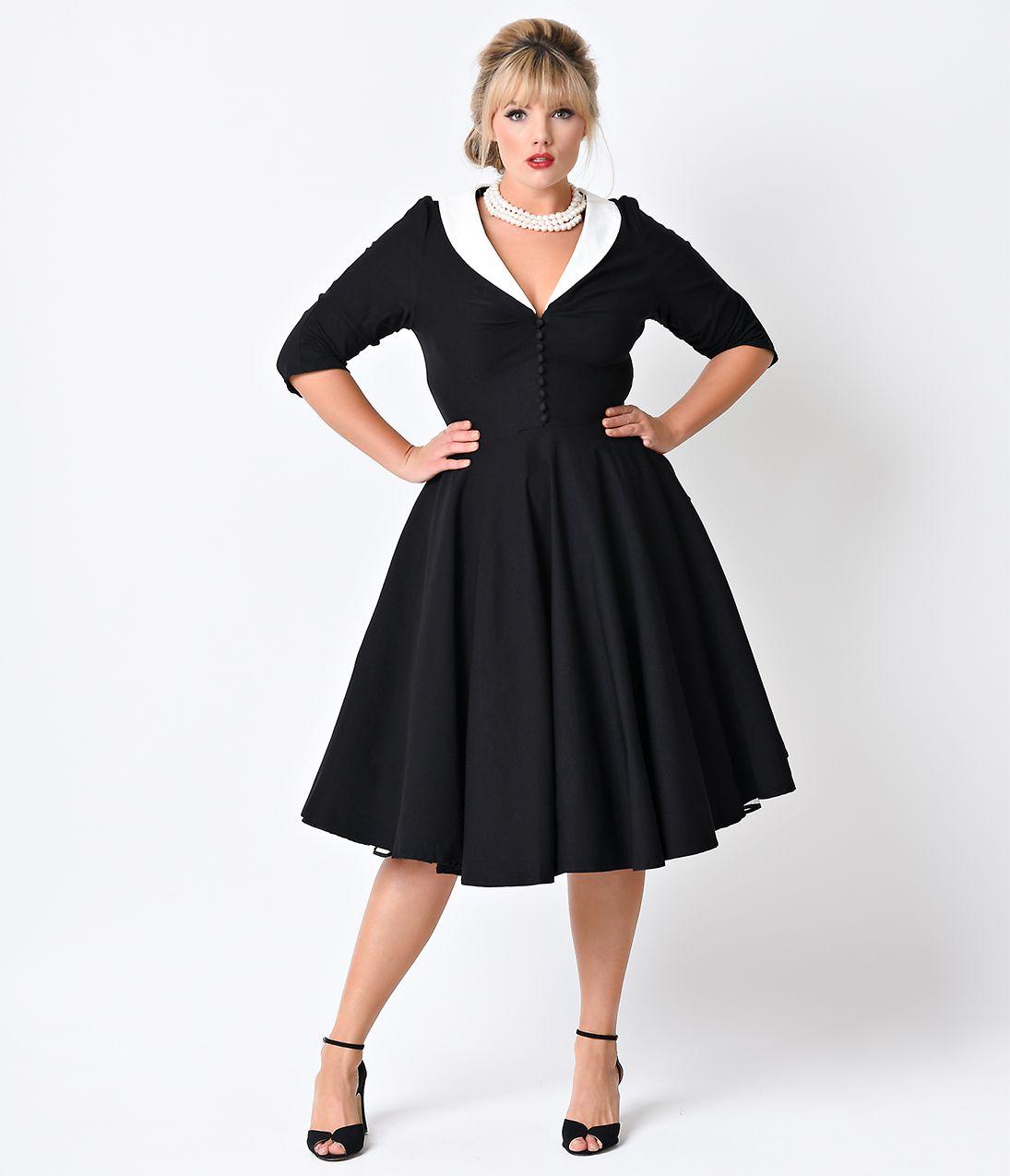 5a6b8ff3a2cd Unique Vintage Plus Size Black White Sleeved Eva Marie Dress  128.00 AT  vintagedancer.com