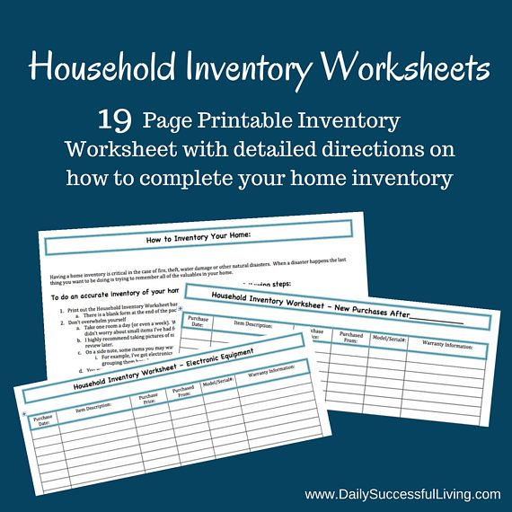 Household Inventory Kit Worksheet - Printable This downloadable