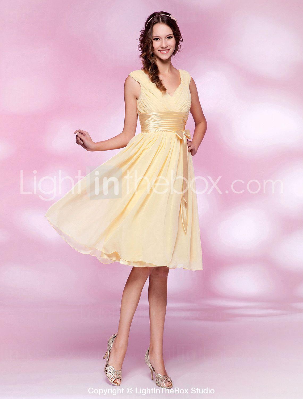 Aline princess vneck knee length chiffon bridesmaid dress with bow