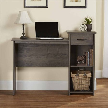 Mainstays Student Desk With Easy Glide Drawer Weathered Oak Walmart Com Home Office Bedroom Home Office Furniture Desk Furniture
