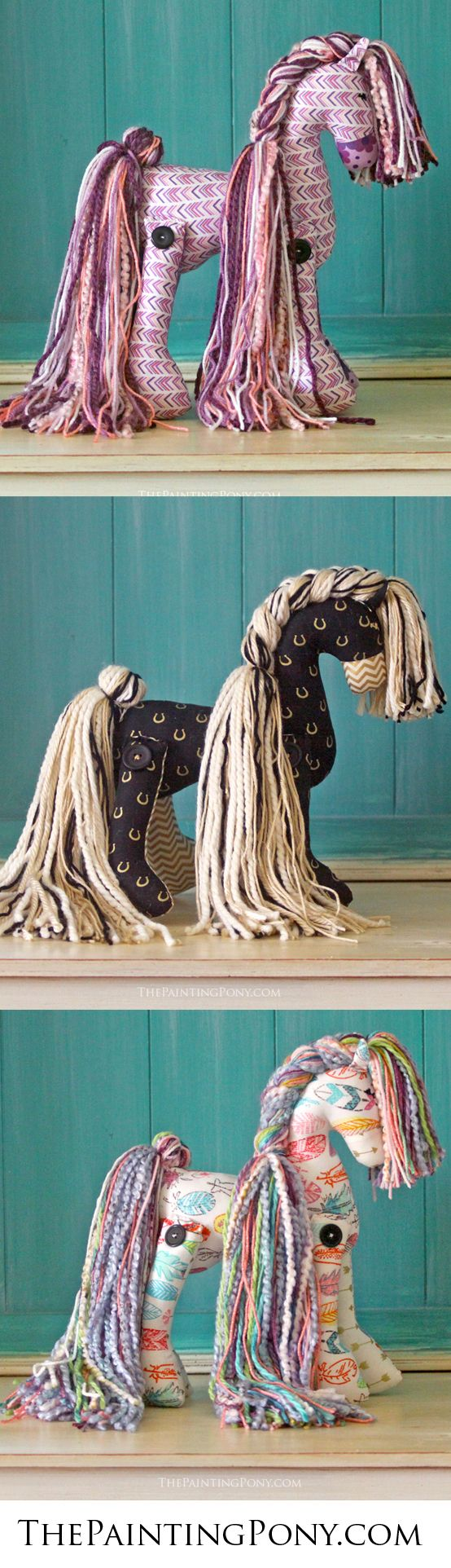 CUTE gift for the horse lover! Any equestrian will love getting one of these cute and whimsical ponies with colorful patterns. Great gift for any occasion from a first birthday to a graduation or for Christmas! Anyone who loves the sport of horseback riding from hunter jumper and dressage to the cowgirl style barrel racing and reining quarter horses will enjoy these whimsical horses. Made in the USA. #giftsforhorselovers #equestrian #horses