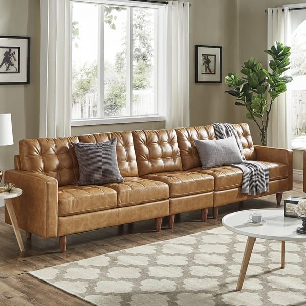 Odin Caramel Leather Gel Extra Long Sofas by iNSPIRE Q