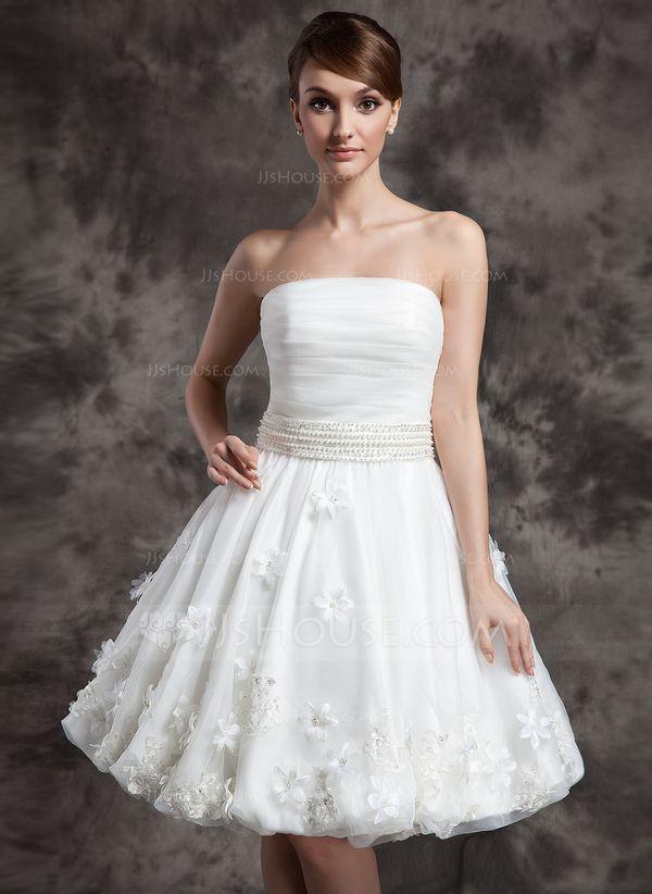 A-Line/Princess Strapless Knee-Length Organza Wedding Dress With Ruffle Beading Flower(s) (002024080)