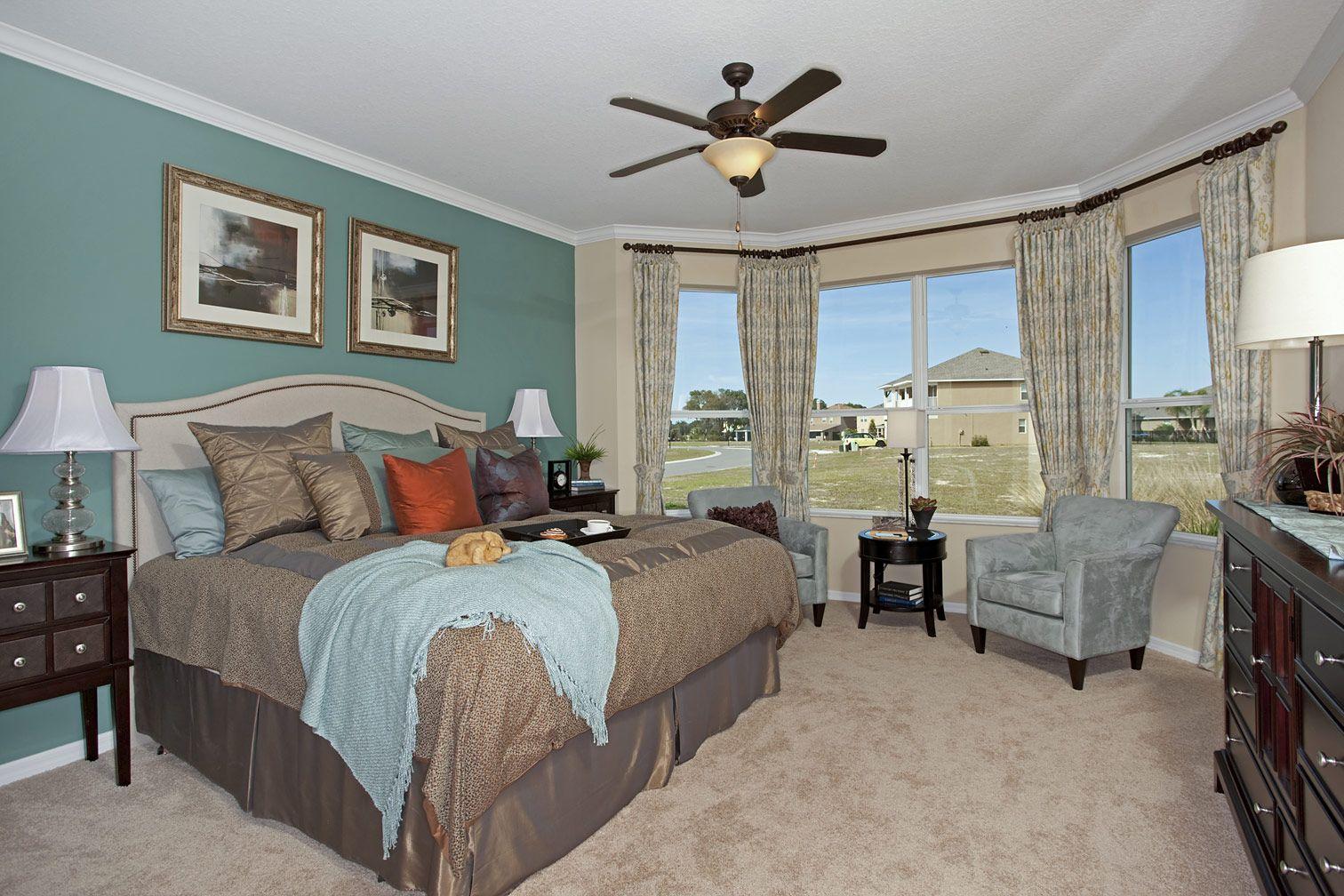 Bay windows in a master bedroom from davis weekley homes