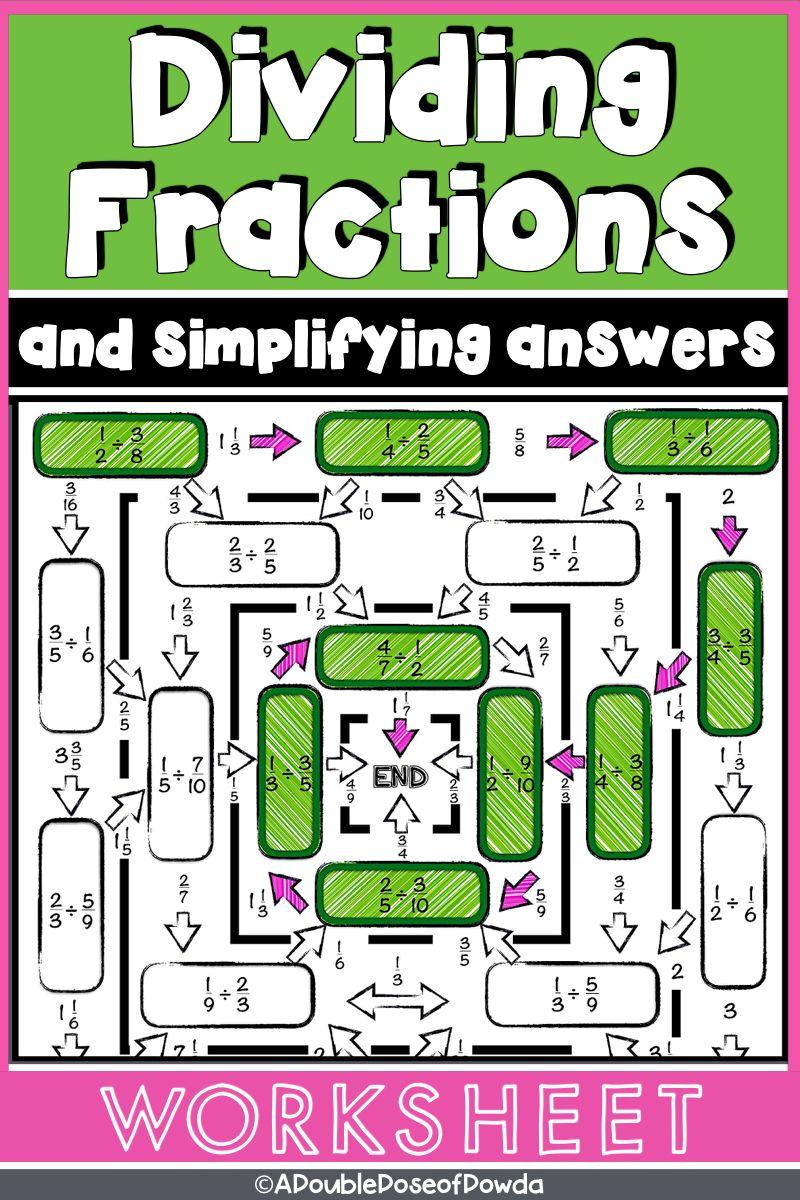 Dividing Fractions Worksheet Level 2 Simplifying