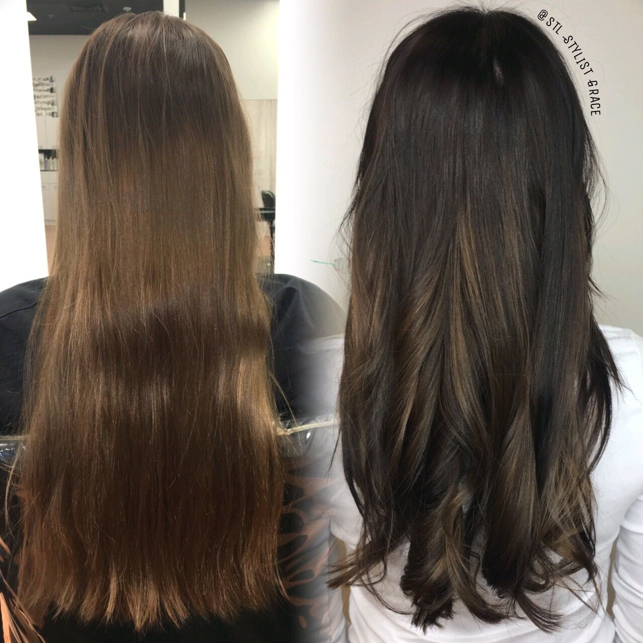 Before and after , dark chocolate with balayage STLStylistGrace