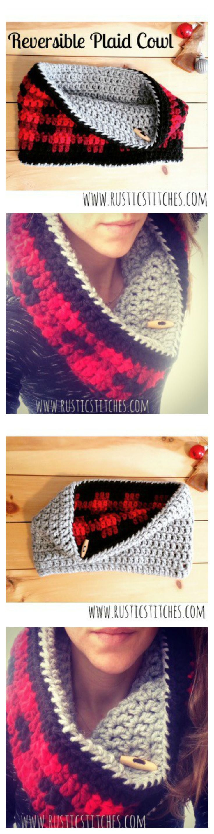 Reversible Plaid Cowl - FREE PATTERN from http://www.rusticstitches ...